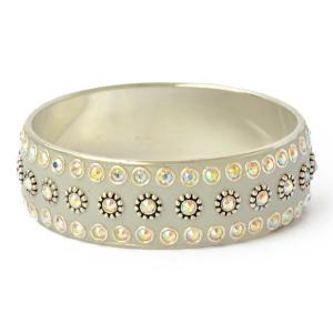 Gray Kashmiri Bangle Studded with Metal Rings & Rhinestones