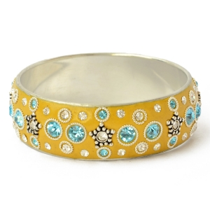 Yellow Kashmiri Bangle Studded with Rhinestones & Metal Accessories