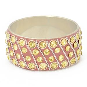 Pink Kashmiri Bangle Studded with Metal Rings, Chains & Rhinestones