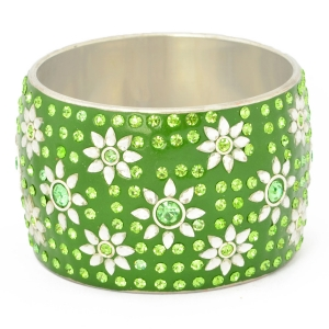 Green Kashmiri Bangle Studded with Green Rhinestones & Accessories