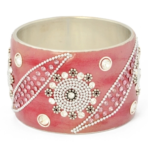Purple Kashmiri Bangle Studded with Metal Chains, Rhinestones & Accessories