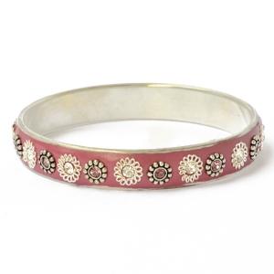 Purple Kashmiri Bangle Studded with Metal Rings, Flowers & Rhinestones