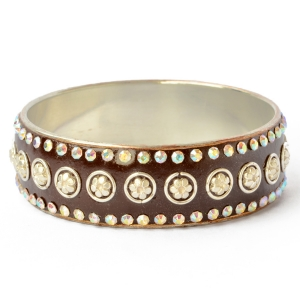 Handmade Brown Bangle Studded with Metal Accessories & Rhinestones