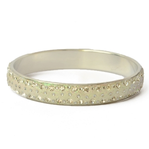 White Glitter Bangle Studded with Rhinestones & Accessories