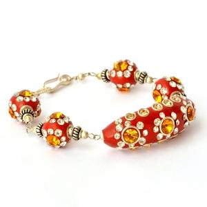 Handmade Bracelet having Red Beads with Metal Rings & Rhinestones