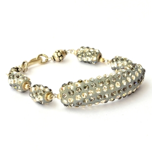 Handmade Bracelet having Gray Beads with White + Gray Rhinestones