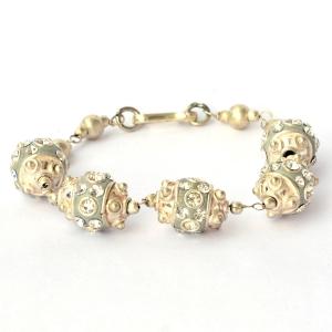 Handmade Bracelet having Gray Beads with Metal Rings & Rhinestones