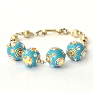Handmade Bracelet having Blue Beads with Metal Rings & Rhinestones