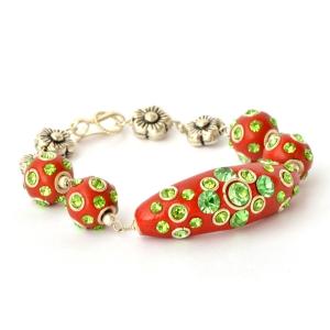 Handmade Bracelet having Red Beads with Green Rhinestones