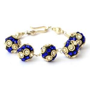 Handmade Bracelet having Black Beads with White & Blue Rhinestones