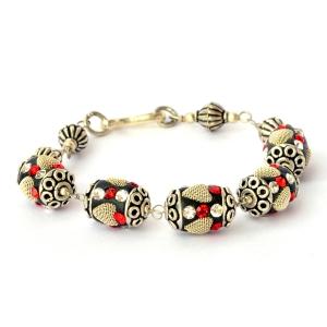 Handmade Bracelet having Black Beads with Metal Hearts & Rhinestones
