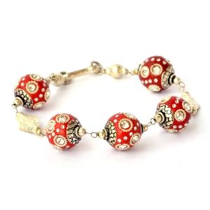 Handmade Bracelet with Red Maruti Beads having Metal Rings & Rhinestones