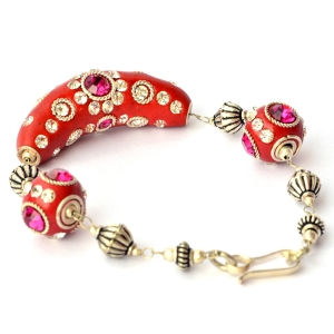 Handmade Bracelet having Red Beads with White + Pink Rhinestones