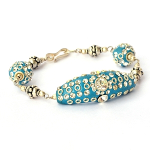 Handmade Bracelet having Blue Beads with White Rhinestones