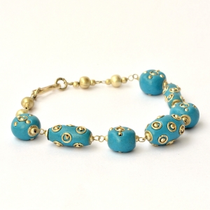 Handmade Bracelet having Blue Beads with Metal Rings & Metal Balls