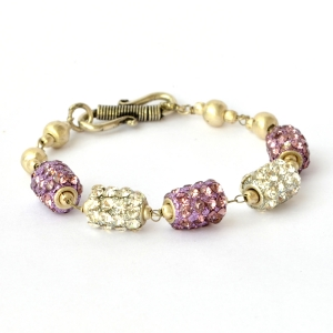 Handmade Bracelet having White & Purple Rhinestone Beads