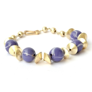 Handmade Bracelet having Round Purple Beads with Light-Blue Stripes