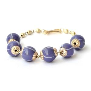 Handmade Bracelet having Purple Beads with Light Blue Stripes