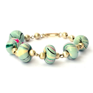 Handmade Bracelet having Alice Blue Beads with Multi-Color Stripes