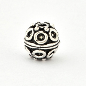 100gm Round Silver Plated Copper Beads in 9mm