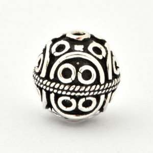 100gm Round Silver Plated Copper Beads in 14mm