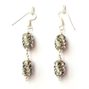 Handmade Earrings having Gray Beads with White & Gray Rhinestones