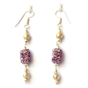 Handmade Earrings having Purple Rhinestone Bead