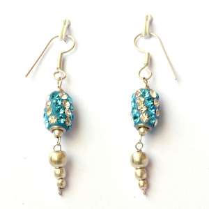 Handmade Earrings having Blue Beads with White & Aqua Rhinestones