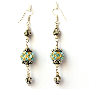 Handmade Earrings having Yellow Beads with Aqua Rhinestones