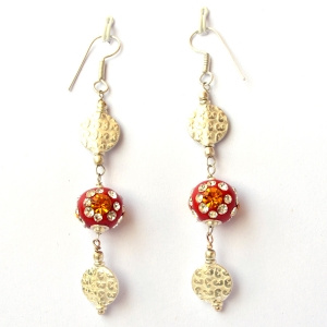 Handmade Earrings having Red Beads with Rhinestones