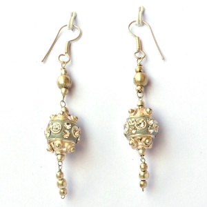 Handmade Earrings having Gray Beads with White Rhinestones