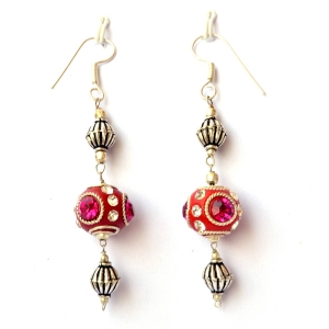 Handmade Earrings having Red Beads with Metal Rings & Rhinestones