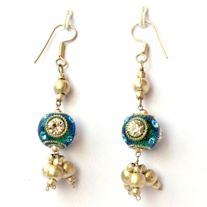 Handmade Earrings having Teal Glitter Beads with Rhinestones