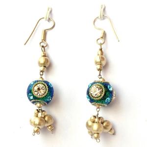 Handmade Earrings having Teal Glitter Beads with Rhinestones