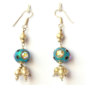 Handmade Earrings having Aqua Glitter Beads with Rhinestones