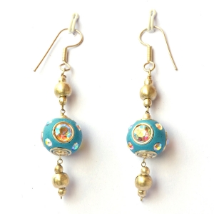 Handmade Earrings having Blue Beads with Rainbow Rhinestones