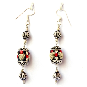 Handmade Earrings having Black Beads with Metal Hearts & Rhinestones