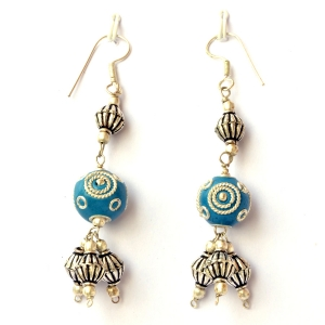 Handmade Earrings having Blue Beads with Metal Rings & Balls