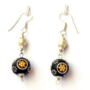 Handmade Earrings having Black Beads with Metal Rings & Flowers