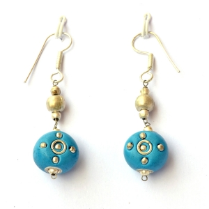 Handmade Earrings having Blue Kashmiri Beads with Metal Rings & Balls