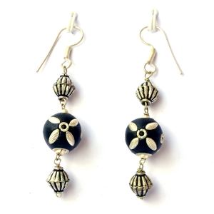 Handmade Earrings having Black Beads with Silver Plated Accessories