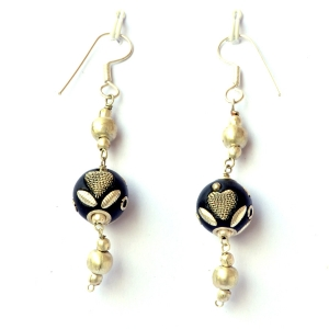 Handmade Earrings having Black Beads with Metal Hearts & Accessories