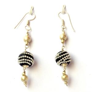 Handmade Earrings having Black Beads with Metal Chains