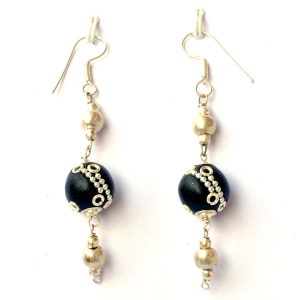 Handmade Earrings having Black Beads with Metal Rings & Chains