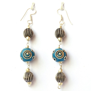 Handmade Earrings having Blue Beads with Silver Plated Rings & Balls