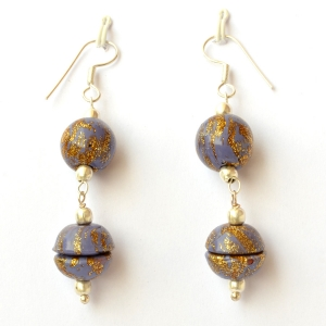 Handmade Earrings with Blue & Golden Color Beads