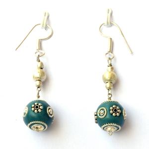 Handmade Earrings having Blue Beads with Metal Rings & Flowers