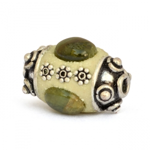 Cylindrical Beads Studded with Metal Flowers & Tourmaline Cabochon