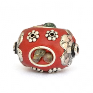 Red Beads Studded with Metal Rings + Flowers + Tourmaline