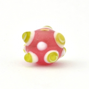 Pink Glass Beads with Green Spikes